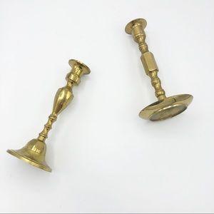 Set of 2 Brass Vintage Candlesticks